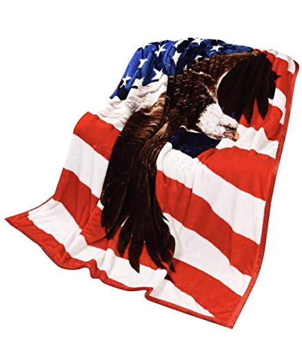 Patriotic USA Flag Blanket ,The Stars and Stripes,Old Glory,and The Star-Spangled Banner, Bedroom, Cabin, Sleigh-bed, and Couch, Full or Queen -