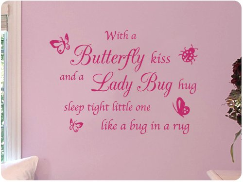 With a Butterfly Kiss and A Lady Bug Hug Sleep Tight Little One Like a Bug in a Rug Nursery Wall Decal With Color Options Sticker Art Mural Home Décor Quote Ladybug Wall Murals