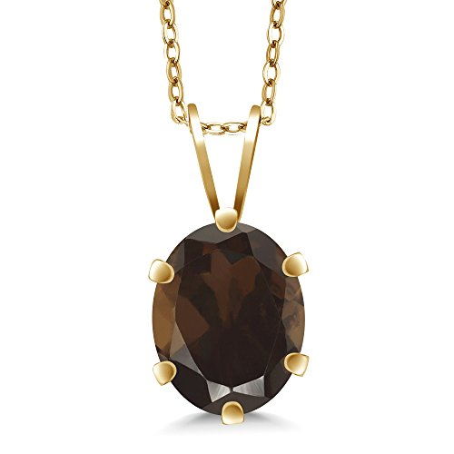 Gem Stone King 1.20 Ct Oval Shape Brown Smoky Quartz Yellow Gold Plated Silver Pendant ()