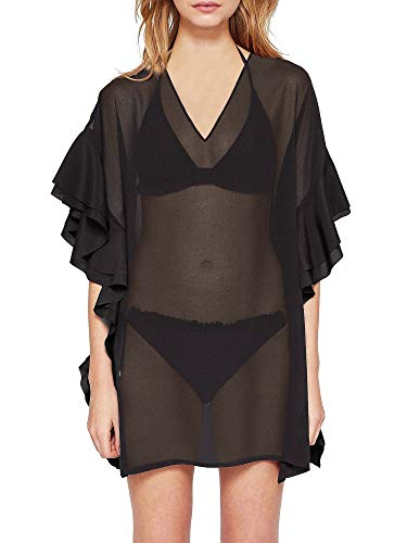Rose Caftan - Moss Rose Women's Beach Cover up for Swimsuit Bathing Suit with Floral Print (Black with Ruffle Sleeves)