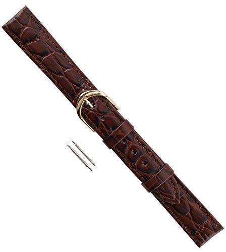 Watch Band Croco Calf Padded Regular Length Leather Replacement Watchband Brown - Leather Brown Croco Band