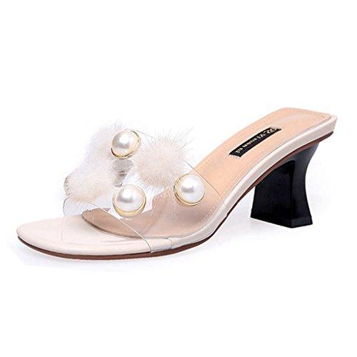GIY Women's Pearl Open Toe Dress Slip On Slide Sandals Stiletto Chunky Heels Shoes Pumps Slipper White ()