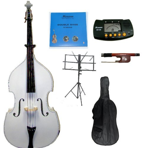 Merano SBF10-1WT-SMT GRACE 3/4 Size White Upright Double Bass with Bag, Bow Bridge 2 Sets Strings Rosin Music Stand Metro Tuner, Black
