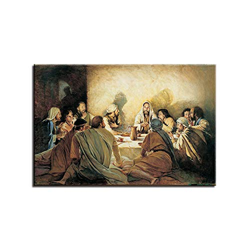 Karen Max Last Supper Paintings Reproductions On The Wall Art Canvas Prints by Da Vinci Christian Decorative Pictures Home Decor Cuadros (Size 3:24x36inch No Frame)