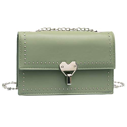 (Dainzuy Women's Clutch Fashion Rivet Small Square Bag Solid Color Diagonal Bag Shoulder Bag Cross Body Bags Light Green)