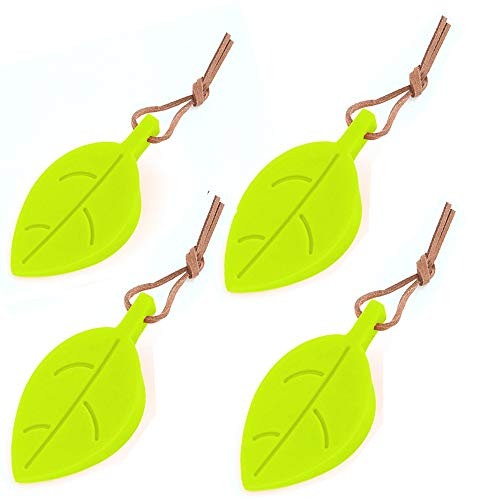Silicone Door Stopper Wedge Finger Protector, 4 Pack Premium Cute Cartoon Leaf Style Flexible Silicone Window/Door Stops Set with Lanyard for Home Garden Office (Leaves Doorstop) from DH+