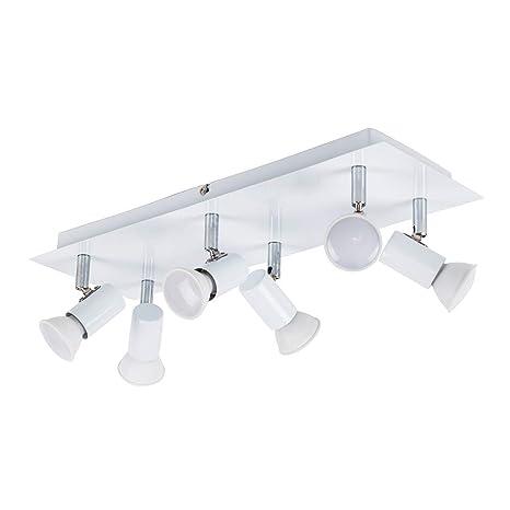 MiniSun - Moderno plafón para el techo Zweig con 6 focos ajustables y base rectangular - Blanco Brillante [Clase de eficiencia energética A]