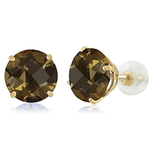Gem Stone King 3.60 Ct Round Checkerboard Brown Smoky Quartz 14K Yellow Gold Earrings