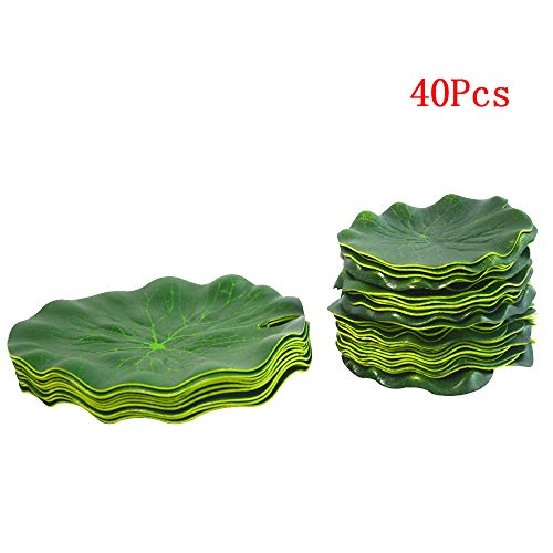 (hilingo Artificial Lily Pad Floating Foam Lotus Leaves Foliage Pond Decor Pack of 40)
