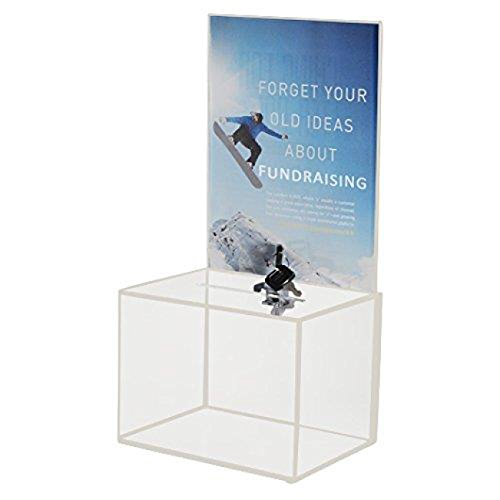 MCB - Medium Acrylic Donation Box - Ballot Box - Ticket Box - Vote Box - Suggestion Box - Comments Box - Locking with 2 Keys - Large Display Area ()