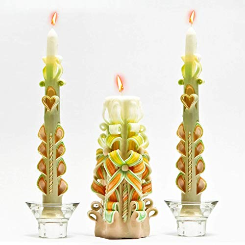 - Beige White Green Yellow And Orange Carved Candles, Taper Carved Candles, Wholesale Gifts, Candle For Anxiety, Candles For Votives 10 Hour Burn, Decorative Candles For Living Room, Candle Gift Ideas