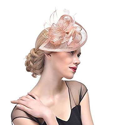 Song Ladies Sinamay Wedding Fascinator Feather Bridal Cocktail Party Headwear
