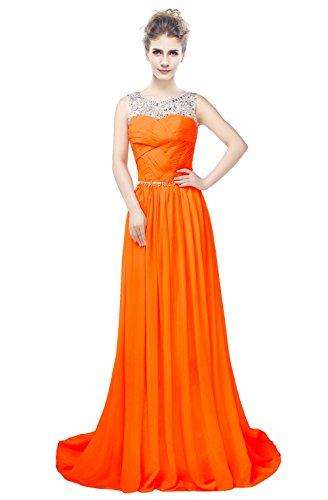 Orange Chiffon Line Gerüscht engerla A Pailletten Frauen Sheer Kristall Kleid Rückenfrei Ball Träger SwCfHqwx
