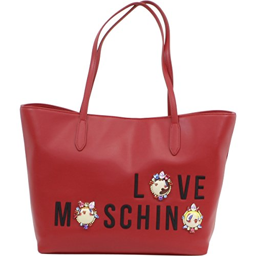 Love Moschino Women's Red Embroidered & Jeweled Logo Tote Satchel Handbag by Love Moschino