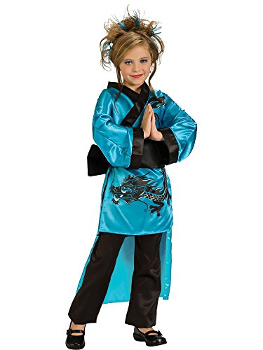 Child's Teal Dragon-Lady Costume, Large
