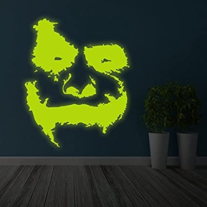 "6c85aa7c1 ( 32"" x 39"" ) Glowing Vinyl Wall Decal Scary Joker Face """