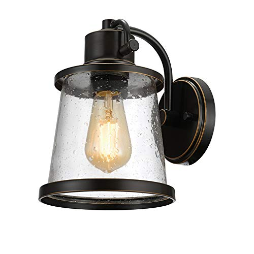 Globe Electric Charlie 1-Light Oil Rubbed Bronze LED Outdoor Wall Mount Sconce with Clear Seeded Glass Shade - Promo Photo Art