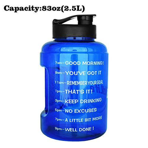 (1 Gallon(83OZ) Water Bottle Inspirational Fitness Workout Sports Water Bottle with Time Marker Times for Measuring Your H2O Intake, BPA Free Non-Toxic,Leak Proof Lid (83OZ, Blue))