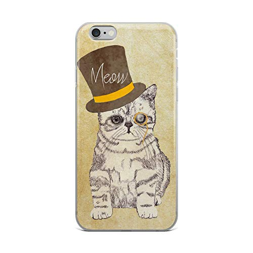 iPhone 6 Plus/6s Plus Case Anti-Scratch Creature Animal Transparent Cases Cover Funny Cat with A Hat Funny and Cute Original Drawing Animals Fauna Crystal Clear]()
