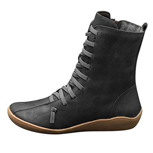 Kauneus Womens Comfy Soft Ankle Boots Classic Cross Strap Leather Mid Calf Boots - Side Zipper Vintage Short Boot Black