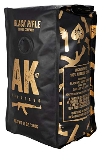 Black Rifle Coffee Company, AK-47 Espresso,100% Arabica Coffee,Colombian Supremo Roasted Dark, Whole Bean 12 oz Bag