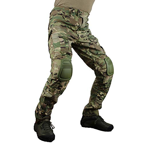b18946402d zuoxiangru Men's Multicam Tactical Pants Multi-Pockets Military Camo  Outdoor Airsoft Combat Hunting Pants with Knee Pads (CP, US XL=Tag 38)
