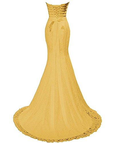 Schnuerung Golden Abendkleid Rueckenfrei Falte Elegant Spitze Schleppe Herzform Satin aermellos Ivydressing Hochzeitkleid Damen Meerjungfrau Guertel Strass Applikation Brautfernkleid SxACw4q