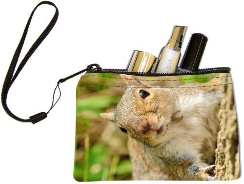 Rikki Knight Peekaboo! Gray Squirrel Design Keys Coins Cards Cosmetic Mini Clutch Wristlet