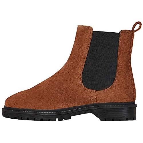 chollos oferta descuentos barato FIND Chunky Sole Leather Botas Chelsea Marrón Brown 38 EU