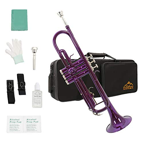 Eastrock Trumpet Brass Standard Bb Trumpet Set,Student Beginner with Hard Case, Gloves, 7C Mouthpiece, and Valve Oil (Purple)