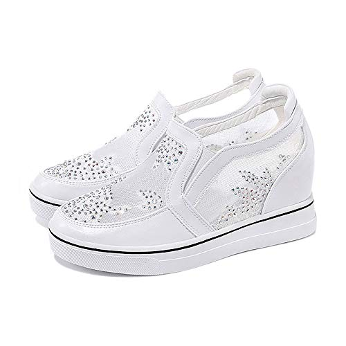 zeppa PU Punta Bianco donna Comfort a da ZHZNVX Scarpe Mesh Sneakers poliuretano Tacco Autunno Argento tonda White qFI6Pwx7