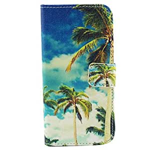 SHOUJIKE Coconut Tree Pattern PU Leather Cover with Stand and Card Slot for iPhone 6