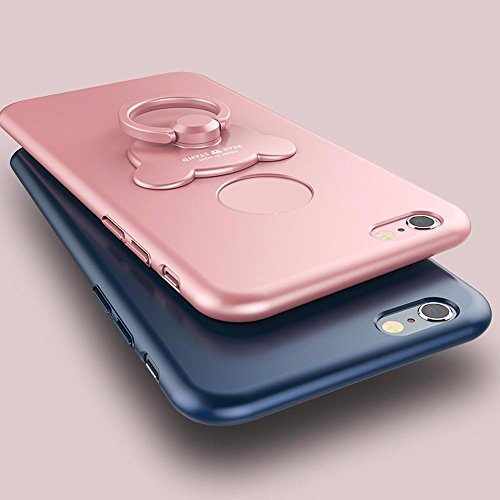 iPhone 6 Plus Case,iPhone 6 Plus Case Hard Plastic,iPhone 6S Plus Shockproof Case Cover,EUWLY iPhone 6 Plus Phone Case with 360 Degree Bear Rotating Ring Holder Support,Ultra Thin Anti-scratch PC Cove Rose Red