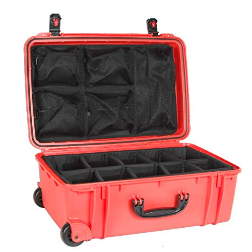 Seahorse 920DOPL Wheeled Protective Case with Padded Dividers, Lid Organizer & Plastic Locks, Neon Orange