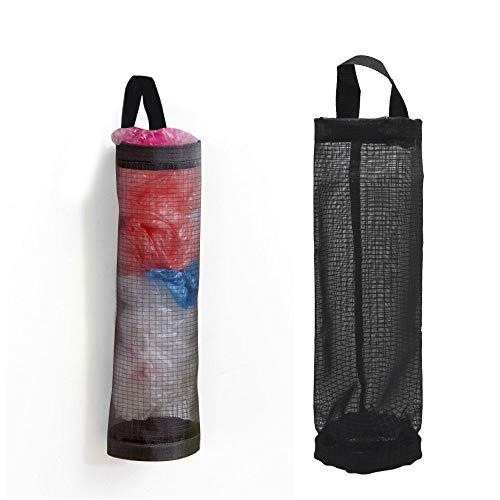 - Plastic Sack Holder Dispenser ShineMe Hanging Storage Folding Mesh Garbage Bag Trash Bags Organizer Recycling Grocery Pocket Containers for Kitchen (Black)