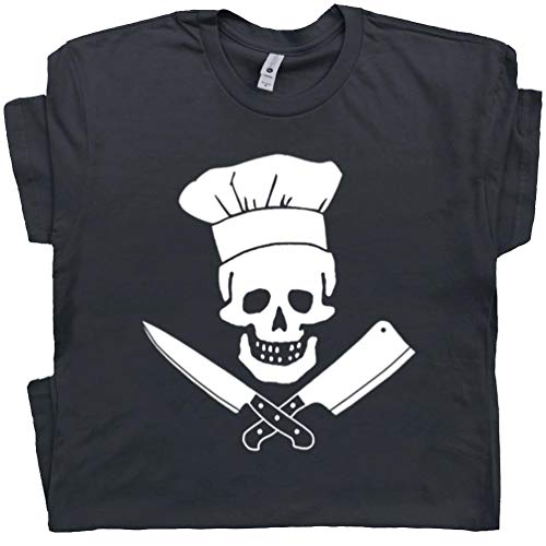 L - Head Chef T Shirt Skull and Knife Tee Cool Grilling Shirts GiftFor Men Women Kid Cooking Sous BBQ Tshirt Black (Best Barbecue In Asheville)