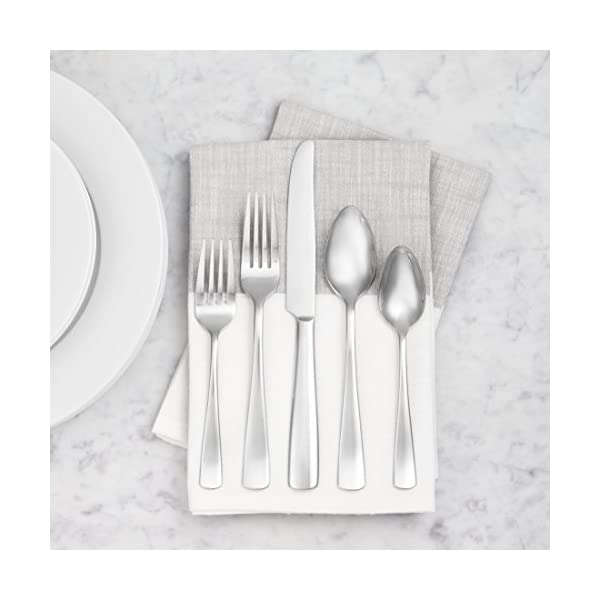 Amazon Basics 20-Piece Stainless Steel Flatware Set with Square Edge, Service for 4 5