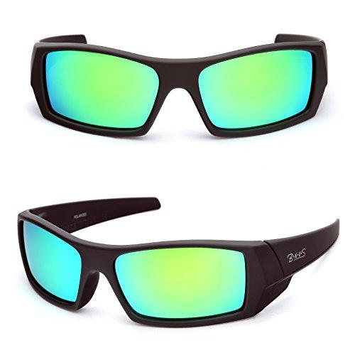 BNUS Unisex Ranger Rectangular Sports Polarized Sunglasses shade for men women Italian made Corning natural glass lenses green Mirrored (Frame: Matte Black / Lens: Green Flash, - Made Sunglasses