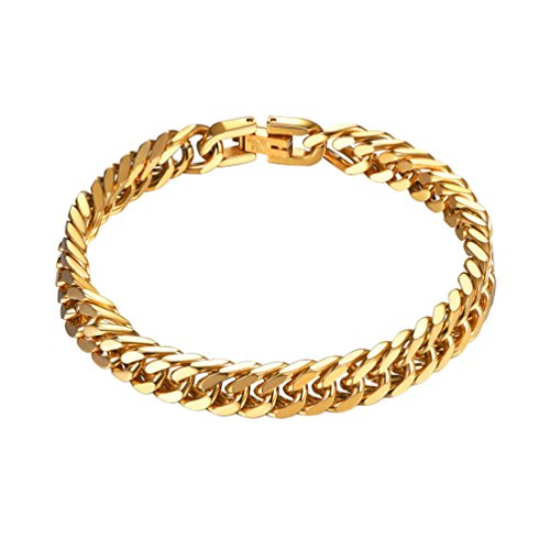 PROSTEEL Men's Thick Chain Bracelet Men's Jewelry Gold Plated Masculine Bracelet 8mm 21cm by PROSTEEL