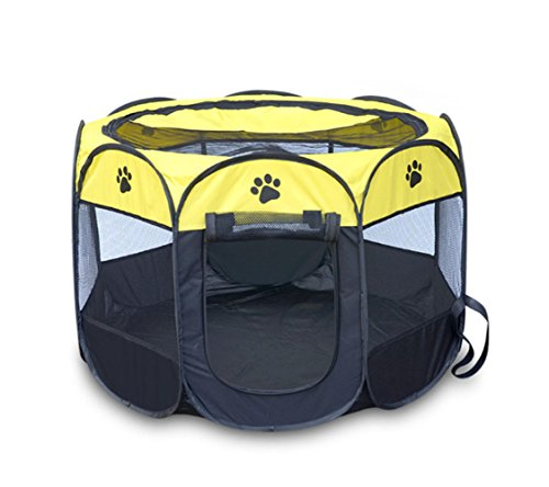 Pet Playpen Dog/Cat/Rabbit/Puppy Exercise Pet Pen Foldable Kennel Oxford with Carry Bag (Small, Yellow)