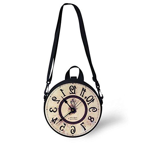 Sannovo Women's PU Round Clock Shape Zippered Tote Handbag Cute Shoulder Bag