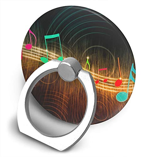 (Round Phone Ring Holder Colorful Music Notes 360 Degree Rotating Finger Ring Kickstand Grip Mounts for All Phones and Tablets)