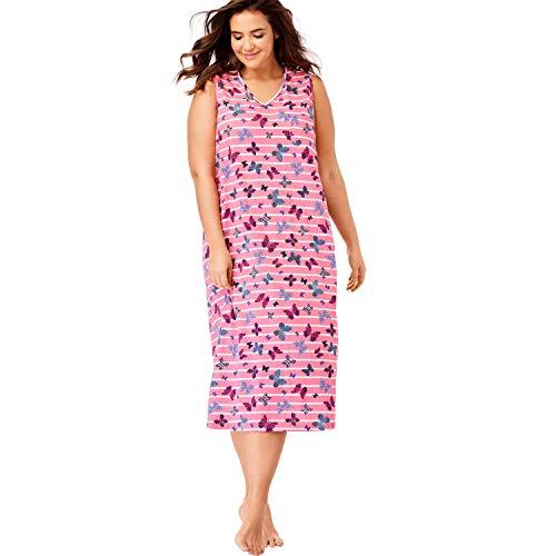 - Dreams & Co. Women's Plus Size Long Sleeveless Sleepshirt - Peony Petal Butterflies, 1X/2X