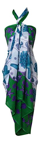 India Boutique Women's Beach Sarong Cover Up Large and Soft (Blue Starfish)