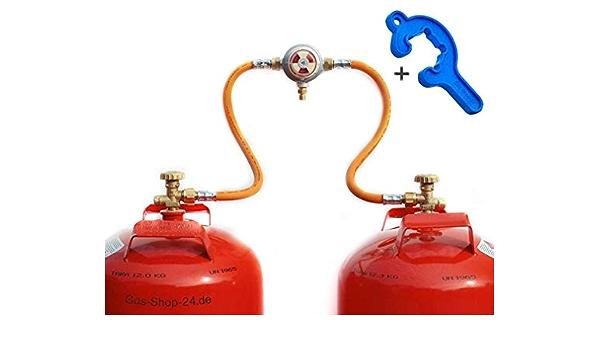 Sistema de dos botellas automático de 50 mbar para bombonas de gas propano de 3/5/11 kg (sistema de botellas, reductor de presión, gas propano ...