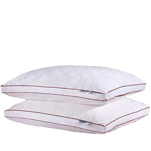 Melody House Pillows for Sleeping, Gusseted Quilted Bed Pillows with Hypoallergenic Cotton Cover, Luxury Feather Fabric Hotel Pillows, King Size 20
