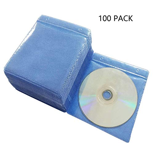 Baocool 100 Pack Premium CD DVD Sleeves,Thick Non-Woven Material Double-Sided Refill Plastic Sleeve for CD and DVD Storage Binders Disc Case (Blue)