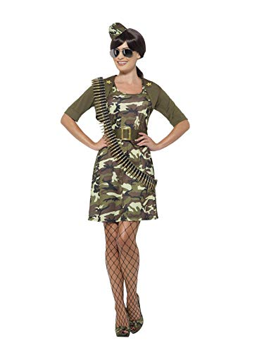 Smiffys Women's Army Combat Cadet Costume, Dress, Jacket, Belt, Hat and Aviator Glasses, Troops, Serious Fun, Size 14-16, 45503
