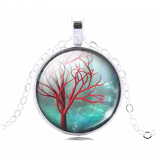 Magical Blue Sky Red Tree Glass Cabochon Abstract Art Picture Pendant Necklace, 20 - 22 - Sillouette Glasses