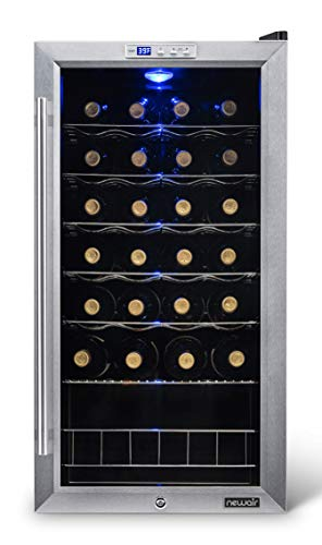 NewAir Wine Cooler and Refrigerator, 27 Bottle Freestanding Wine Chiller Fridge, Stainless steel with Glass Door, AWC-270E from NewAir